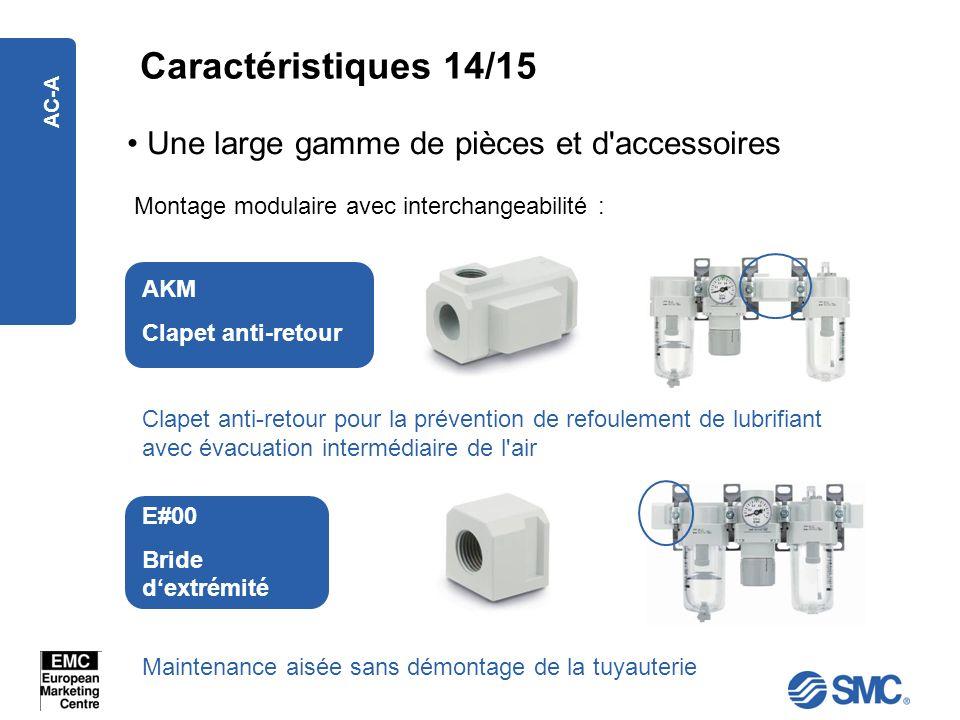 AC-A Une large gamme de pièces et d'accessoires Montage modulaire avec interchangeabilité : AKM Clapet anti-retour E#00 Bride dextrémité Maintenance a