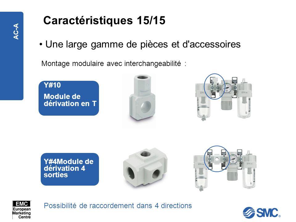 AC-A Une large gamme de pièces et d'accessoires Montage modulaire avec interchangeabilité : Y#10 Module de dérivation en T Y#4Module de dérivation 4 s