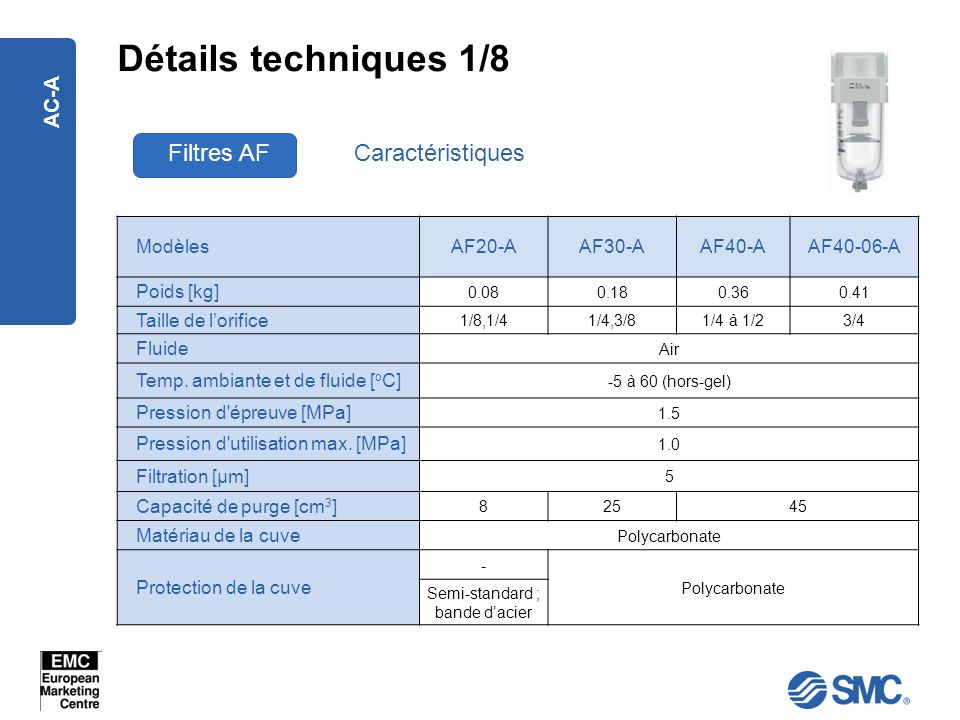 AC-A Détails techniques 1/8 Filtres AFCaractéristiques ModèlesAF20-AAF30-AAF40-AAF40-06-A Poids [kg] 0.080.180.360.41 Taille de lorifice 1/8,1/41/4,3/