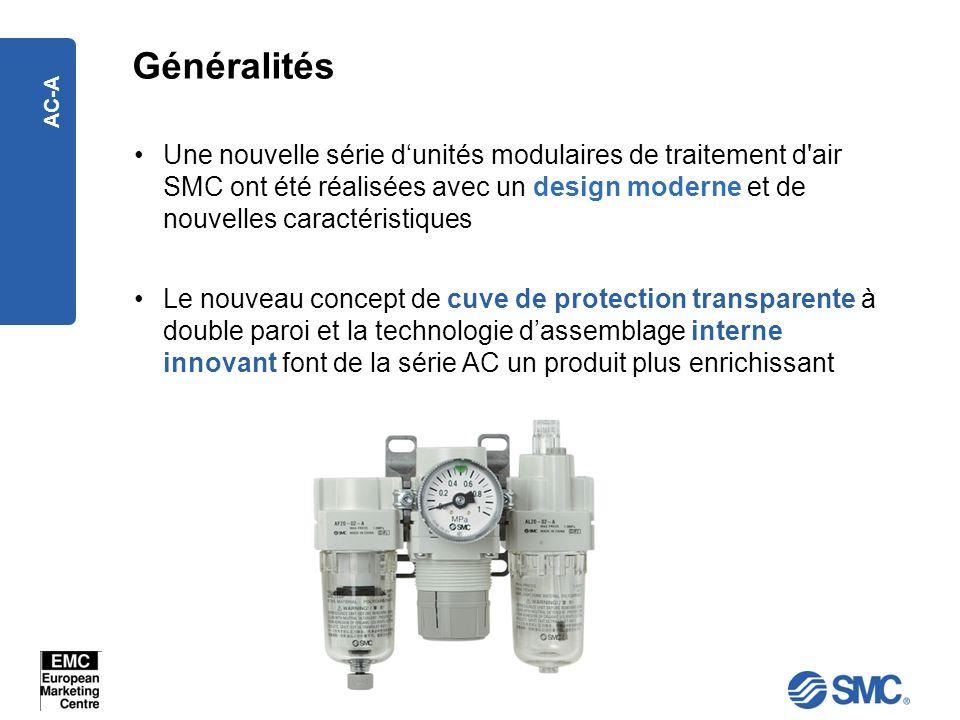 AC-A Généralités Une nouvelle série dunités modulaires de traitement d'air SMC ont été réalisées avec un design moderne et de nouvelles caractéristiqu