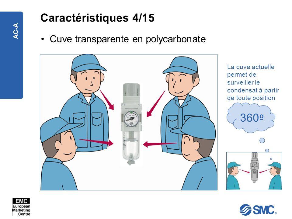 AC-A Cuve transparente en polycarbonate La cuve actuelle permet de surveiller le condensat à partir de toute position 360 º Caractéristiques 4/15