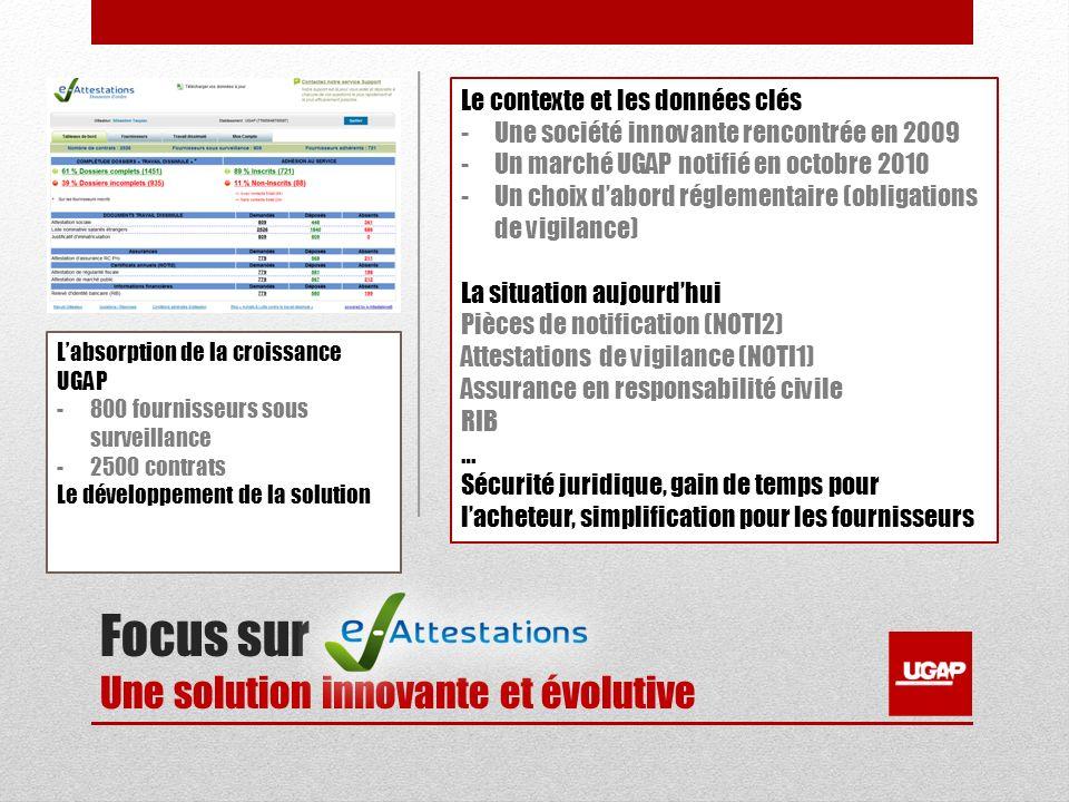 Focus sur Une solution innovante et évolutive Le contexte et les données clés -Une société innovante rencontrée en 2009 -Un marché UGAP notifié en oct