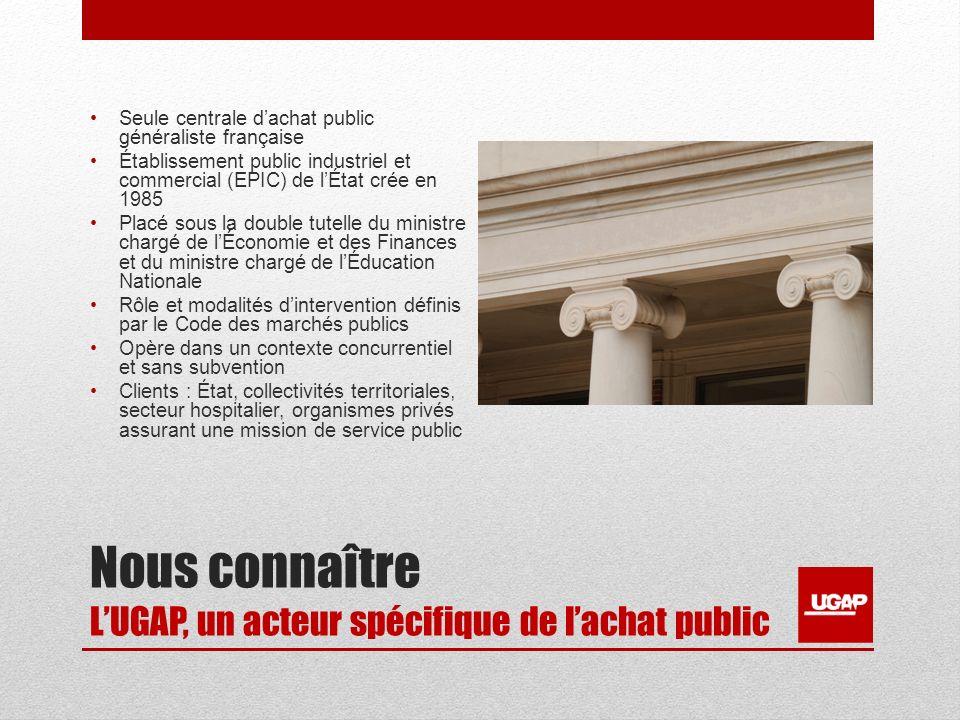 Nous connaître LUGAP, un acteur spécifique de lachat public Seule centrale dachat public généraliste française Établissement public industriel et comm