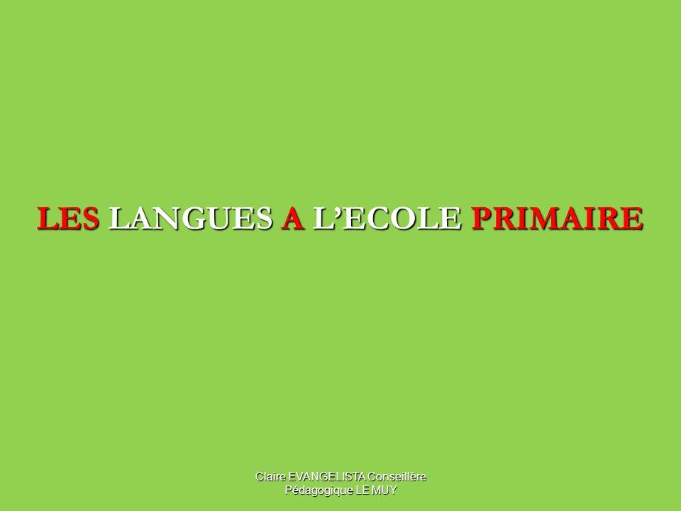 LES LANGUES A LECOLE PRIMAIRE Claire EVANGELISTA Conseillère Pédagogique LE MUY