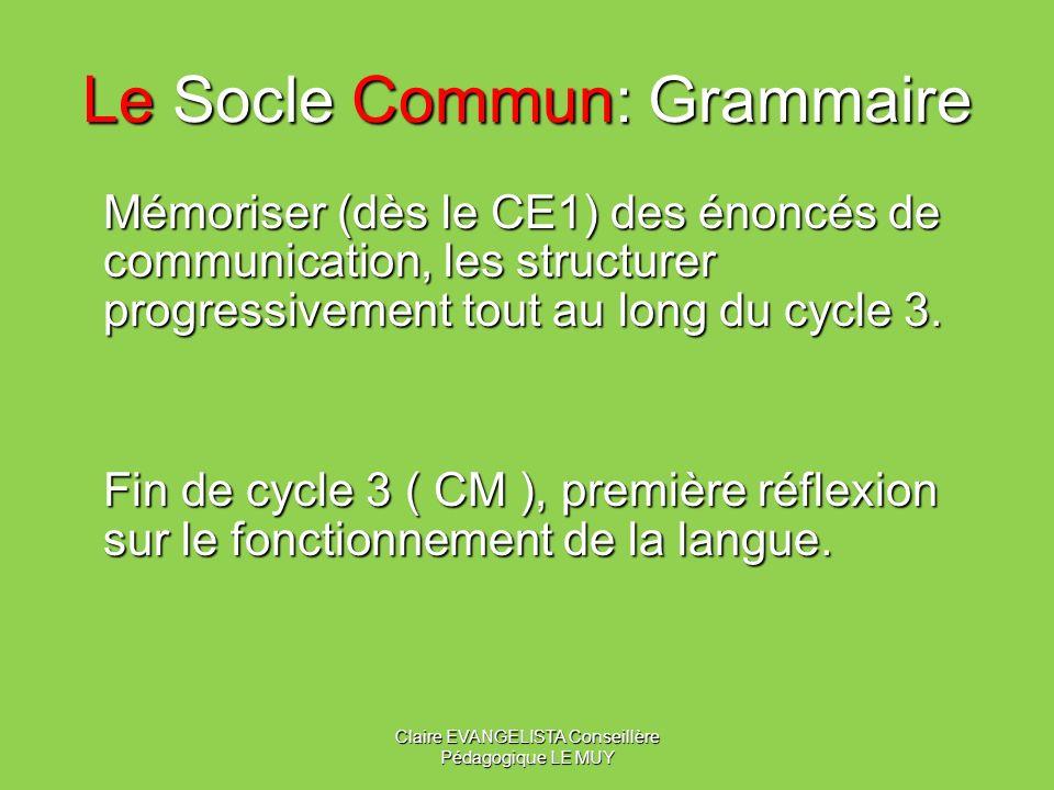 Le Socle Commun: Culture et lexique Découvrir en contexte et acquérir des éléments de base des thèmes culturels et champs lexicaux du programme Vie de