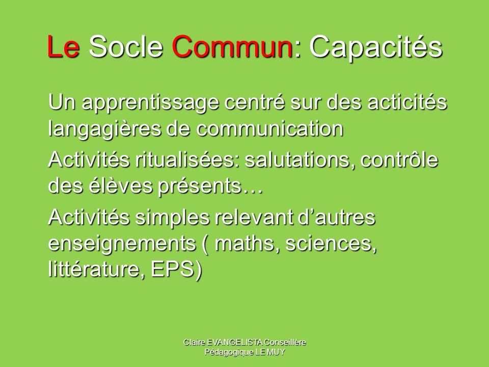 Le Socle Commun: Grammaire Mémoriser (dès le CE1) des énoncés de communication, les structurer progressivement tout au long du cycle 3. Fin de cycle 3