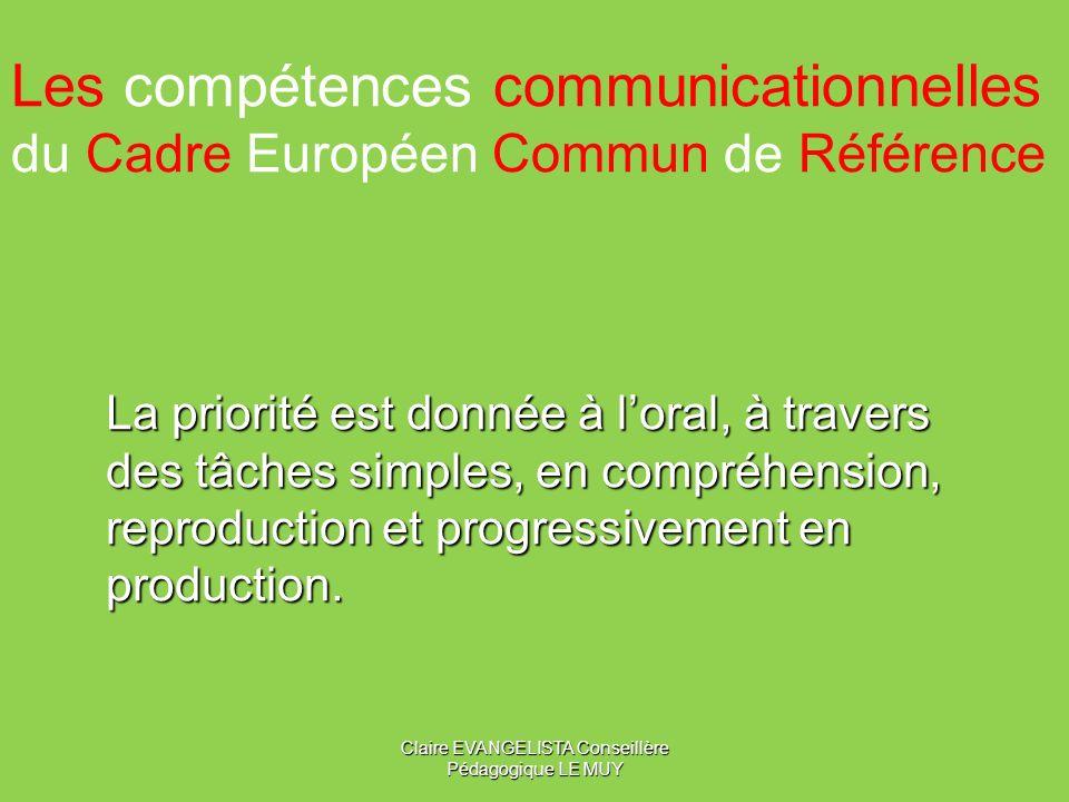Les compétences communicationnelles du Cadre Européen Commun de Référence La priorité est donnée à loral, à travers des tâches simples, en compréhension, reproduction et progressivement en production.
