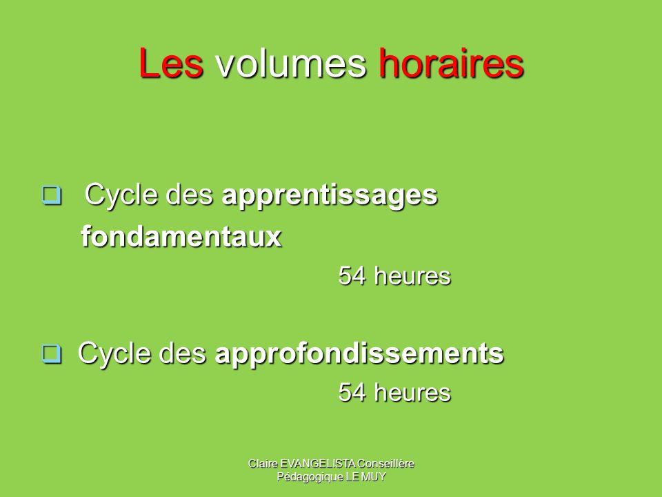 Les volumes horaires Cycle des apprentissages Cycle des apprentissages fondamentaux fondamentaux 54 heures Cycle des approfondissements Cycle des approfondissements 54 heures Claire EVANGELISTA Conseillère Pédagogique LE MUY