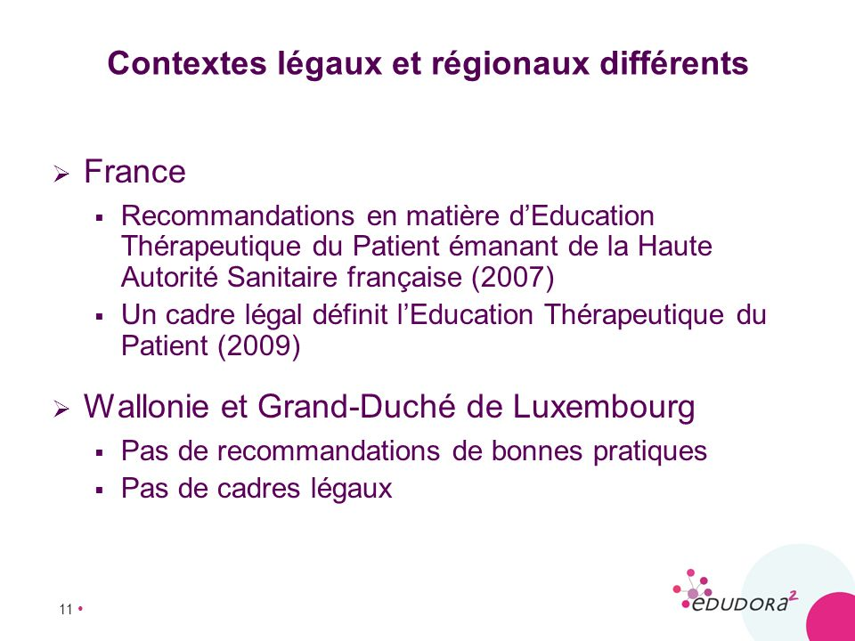 11 Contextes légaux et régionaux différents France Recommandations en matière dEducation Thérapeutique du Patient émanant de la Haute Autorité Sanitai