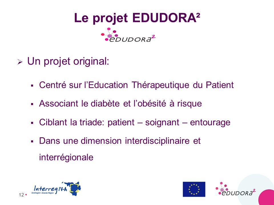 12 Le projet EDUDORA² Un projet original: Centré sur lEducation Thérapeutique du Patient Associant le diabète et lobésité à risque Ciblant la triade: