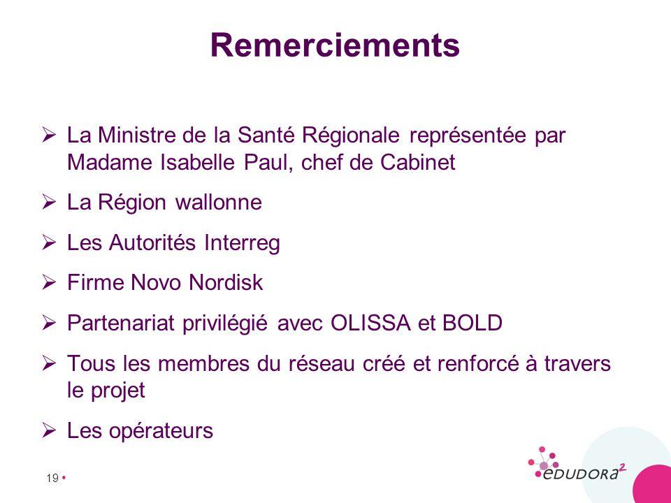 19 Remerciements La Ministre de la Santé Régionale représentée par Madame Isabelle Paul, chef de Cabinet La Région wallonne Les Autorités Interreg Fir