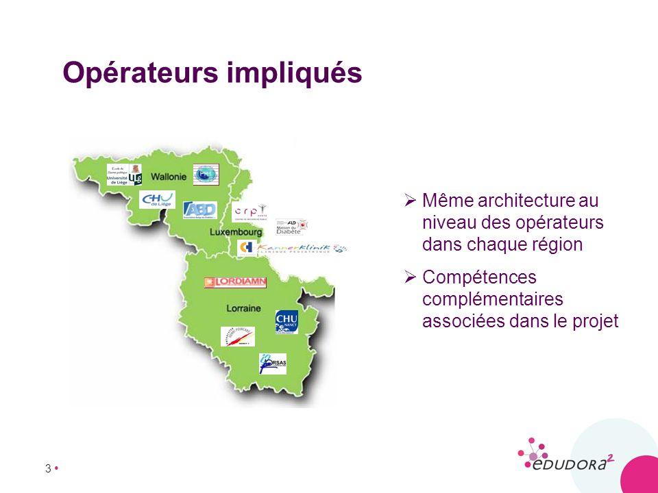 3 Opérateurs impliqués Même architecture au niveau des opérateurs dans chaque région Compétences complémentaires associées dans le projet