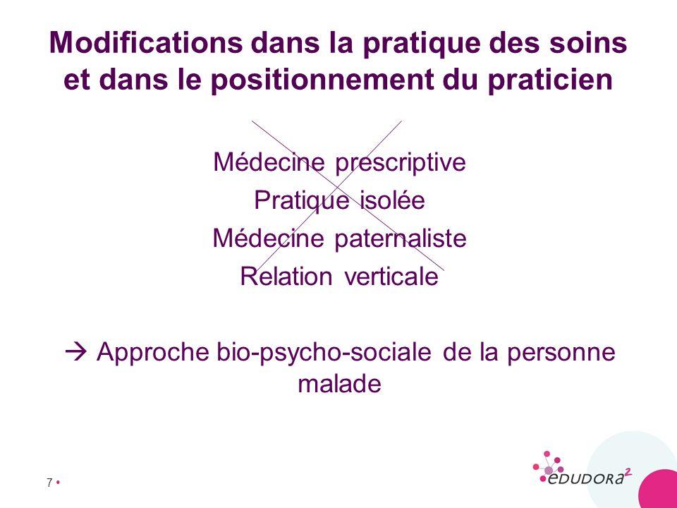 7 Modifications dans la pratique des soins et dans le positionnement du praticien Médecine prescriptive Pratique isolée Médecine paternaliste Relation
