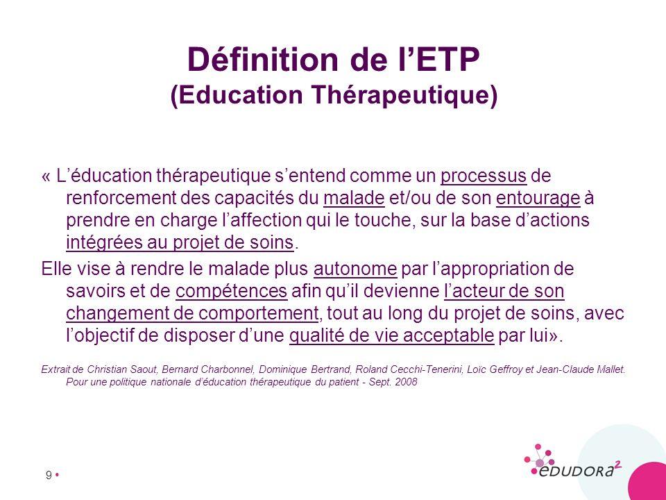 9 Définition de lETP (Education Thérapeutique) « Léducation thérapeutique sentend comme un processus de renforcement des capacités du malade et/ou de