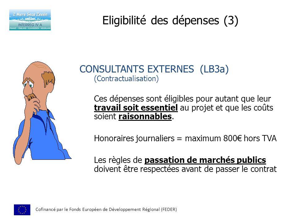 Eligibilité des dépenses (3) Cofinancé par le Fonds Européen de Développement Régional (FEDER) CONSULTANTS EXTERNES (LB3a) (Contractualisation) Ces dépenses sont éligibles pour autant que leur travail soit essentiel au projet et que les coûts soient raisonnables.