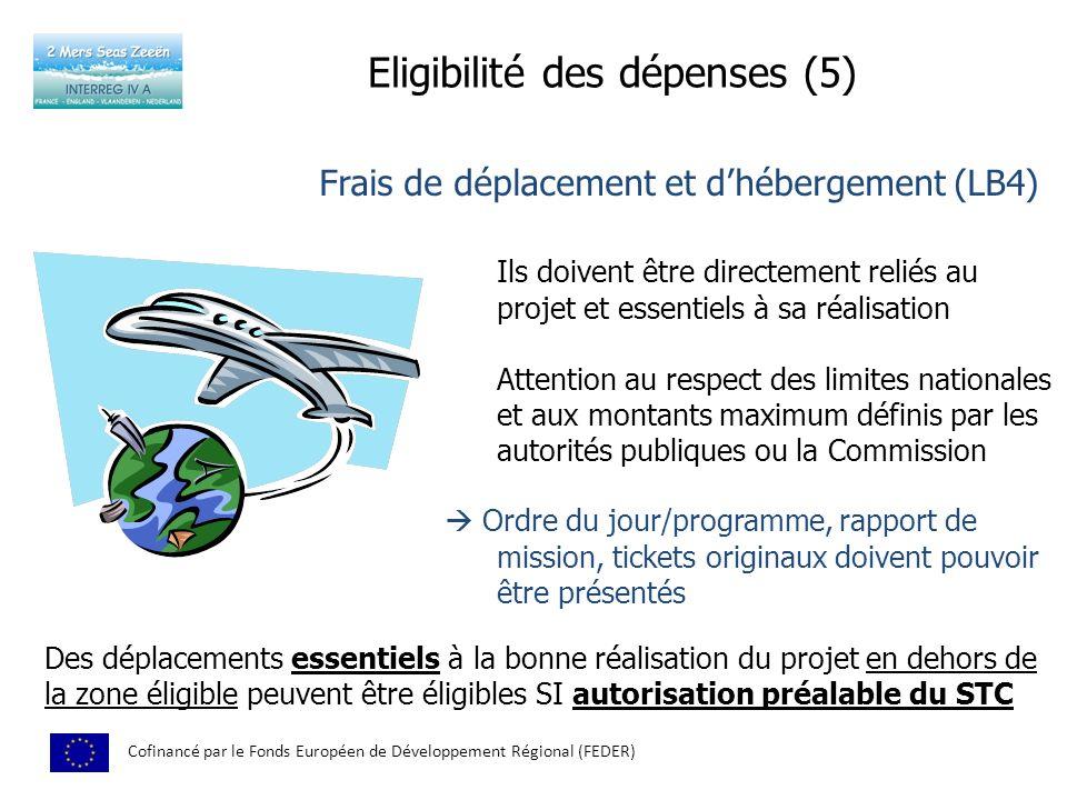 Eligibilité des dépenses (5) Cofinancé par le Fonds Européen de Développement Régional (FEDER) Ils doivent être directement reliés au projet et essent