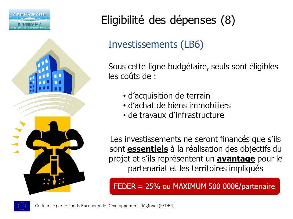 Eligibilité des dépenses (8) Cofinancé par le Fonds Européen de Développement Régional (FEDER) Investissements (LB6) Sous cette ligne budgétaire, seuls sont éligibles les coûts de : dacquisition de terrain dachat de biens immobiliers de travaux dinfrastructure Les investissements ne seront financés que sils sont essentiels à la réalisation des objectifs du projet et sils représentent un avantage pour le partenariat et les territoires impliqués FEDER = 25% ou MAXIMUM 500 000/partenaire