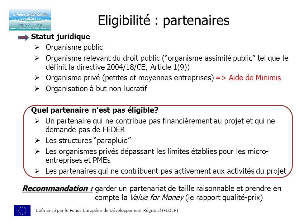 Eligibilité : partenaires Cofinancé par le Fonds Européen de Développement Régional (FEDER) Statut juridique Organisme public Organisme relevant du dr