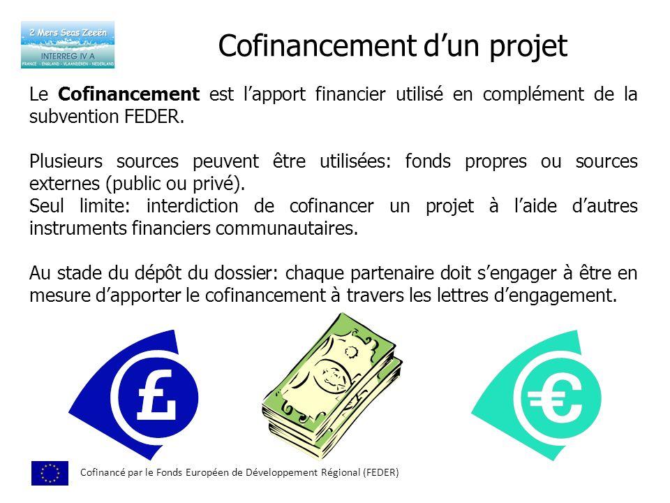 Cofinancement dun projet Cofinancé par le Fonds Européen de Développement Régional (FEDER) Le Cofinancement est lapport financier utilisé en complémen
