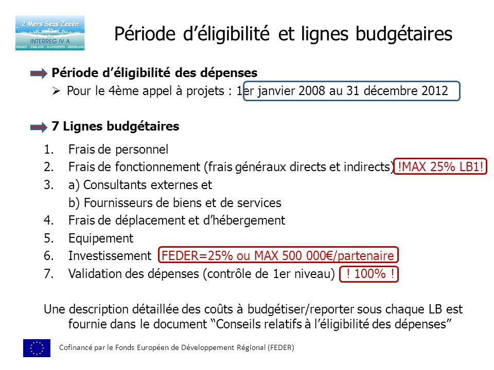 Période déligibilité et lignes budgétaires Cofinancé par le Fonds Européen de Développement Régional (FEDER) Période déligibilité des dépenses Pour le 4ème appel à projets : 1er janvier 2008 au 31 décembre 2012 1.Frais de personnel 2.Frais de fonctionnement (frais généraux directs et indirects) !MAX 25% LB1.