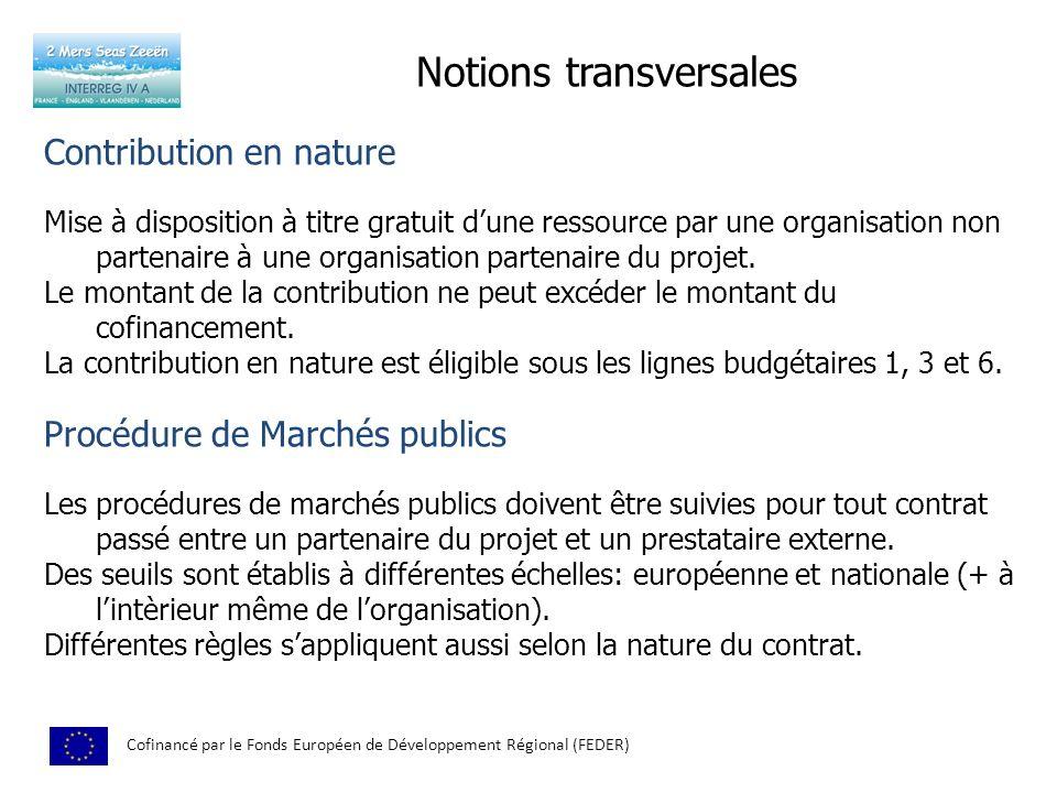 Notions transversales Cofinancé par le Fonds Européen de Développement Régional (FEDER) Contribution en nature Mise à disposition à titre gratuit dune ressource par une organisation non partenaire à une organisation partenaire du projet.