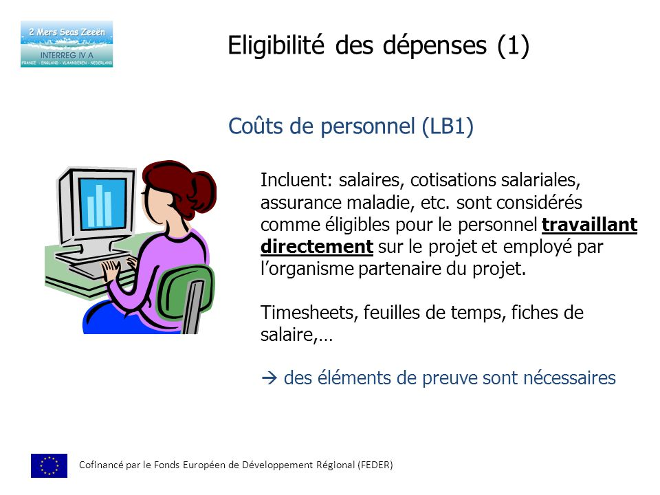 Eligibilité des dépenses (1) Cofinancé par le Fonds Européen de Développement Régional (FEDER) Coûts de personnel (LB1) Incluent: salaires, cotisations salariales, assurance maladie, etc.