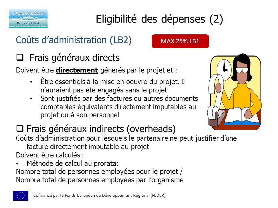 Eligibilité des dépenses (2) Cofinancé par le Fonds Européen de Développement Régional (FEDER) Coûts dadministration (LB2) Frais généraux directs Doivent être directement générés par le projet et : Être essentiels à la mise en oeuvre du projet.