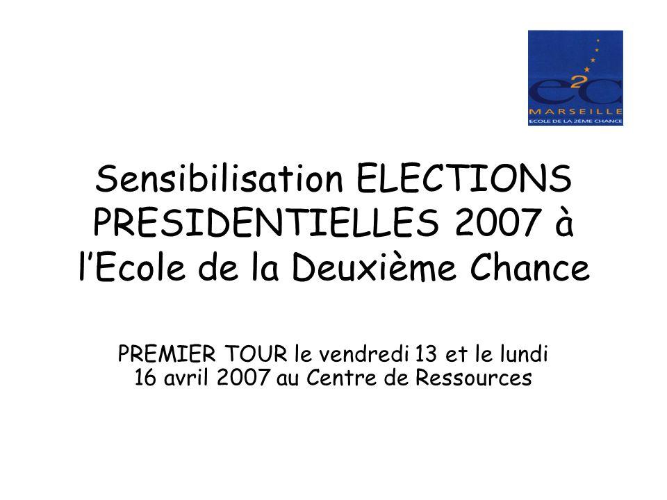 Sensibilisation ELECTIONS PRESIDENTIELLES 2007 à lEcole de la Deuxième Chance PREMIER TOUR le vendredi 13 et le lundi 16 avril 2007 au Centre de Resso