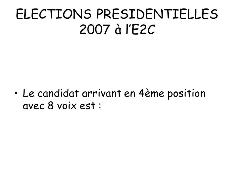 ELECTIONS PRESIDENTIELLES 2007 à lE2C Le candidat arrivant en 4ème position avec 8 voix est :