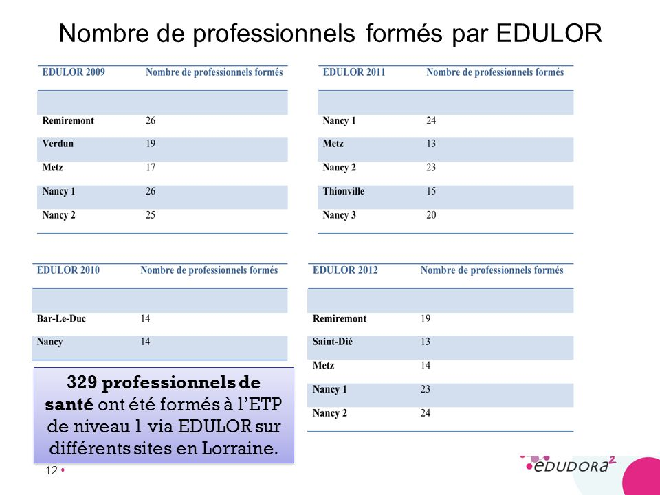 12 Nombre de professionnels formés par EDULOR 329 professionnels de santé ont été formés à lETP de niveau 1 via EDULOR sur différents sites en Lorrain