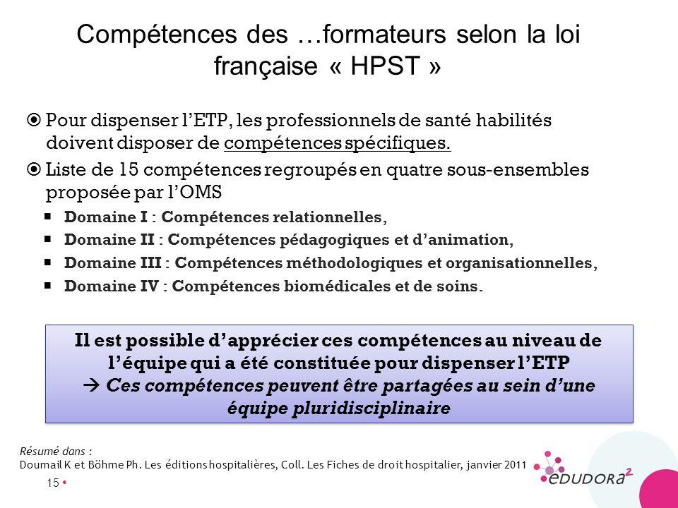 15 Compétences des …formateurs selon la loi française « HPST » Pour dispenser lETP, les professionnels de santé habilités doivent disposer de compéten