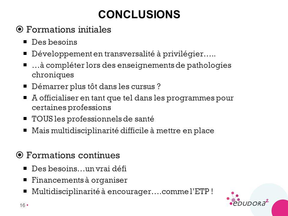 16 CONCLUSIONS Formations initiales Des besoins Développement en transversalité à privilégier….. …à compléter lors des enseignements de pathologies ch