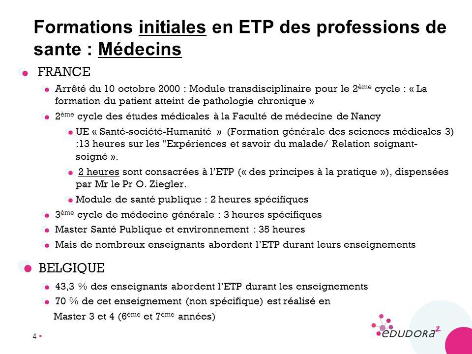 4 FRANCE Arrêté du 10 octobre 2000 : Module transdisciplinaire pour le 2 ème cycle : « La formation du patient atteint de pathologie chronique » 2 ème