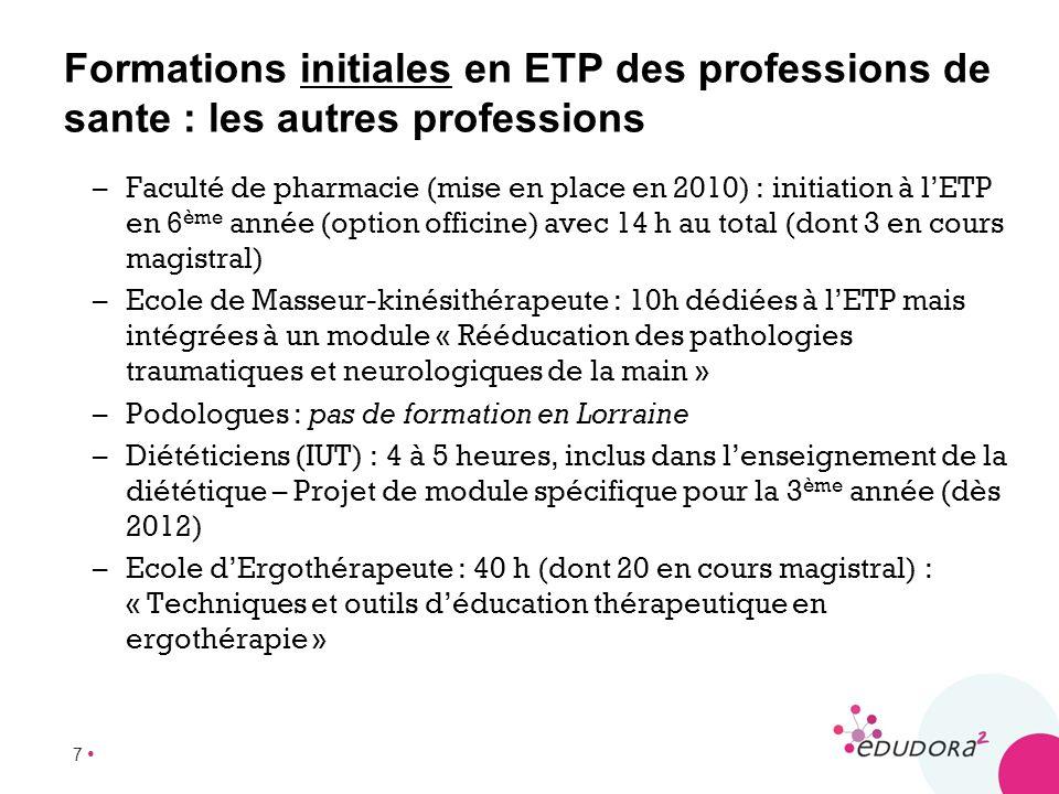 7 Formations initiales en ETP des professions de sante : les autres professions –Faculté de pharmacie (mise en place en 2010) : initiation à lETP en 6