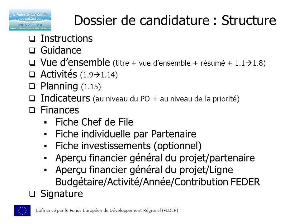 Dossier de candidature : Structure Cofinancé par le Fonds Européen de Développement Régional (FEDER) Instructions Guidance Vue densemble (titre + vue