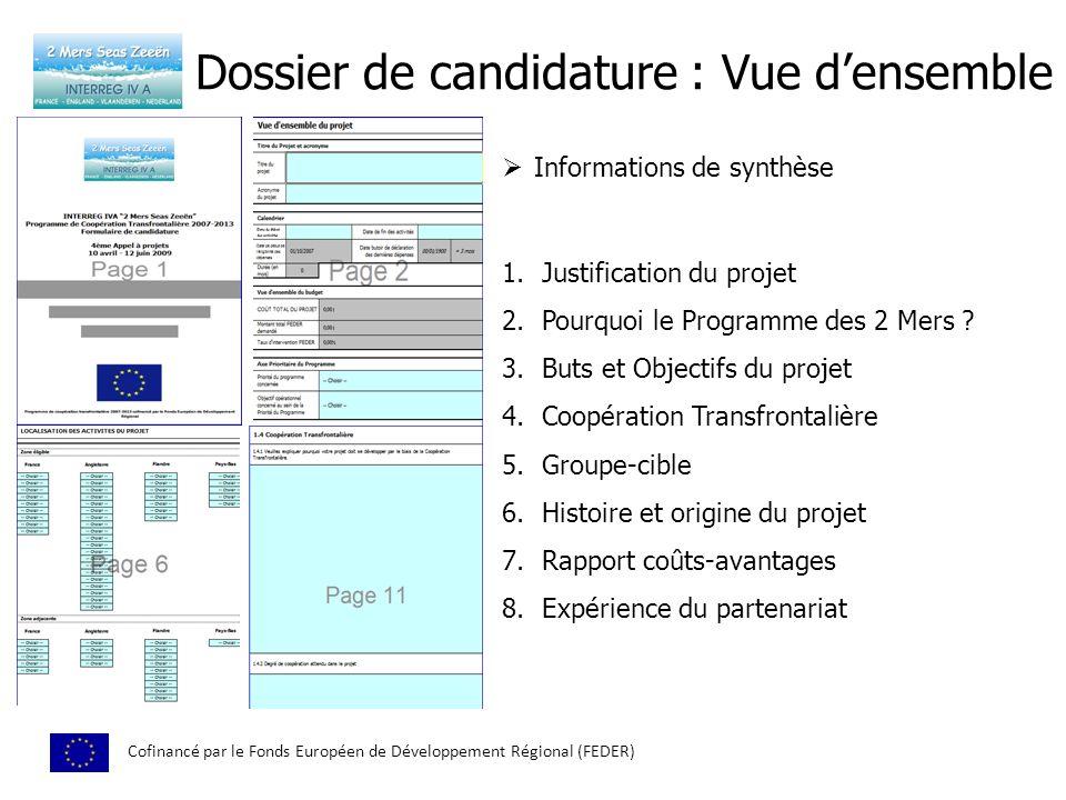 Dossier de candidature : Vue densemble Cofinancé par le Fonds Européen de Développement Régional (FEDER) Informations de synthèse 1.Justification du p