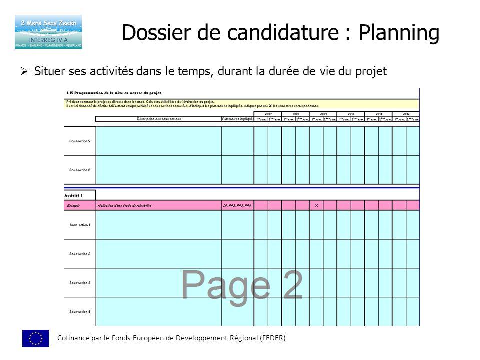 Dossier de candidature : Planning Cofinancé par le Fonds Européen de Développement Régional (FEDER) Situer ses activités dans le temps, durant la duré