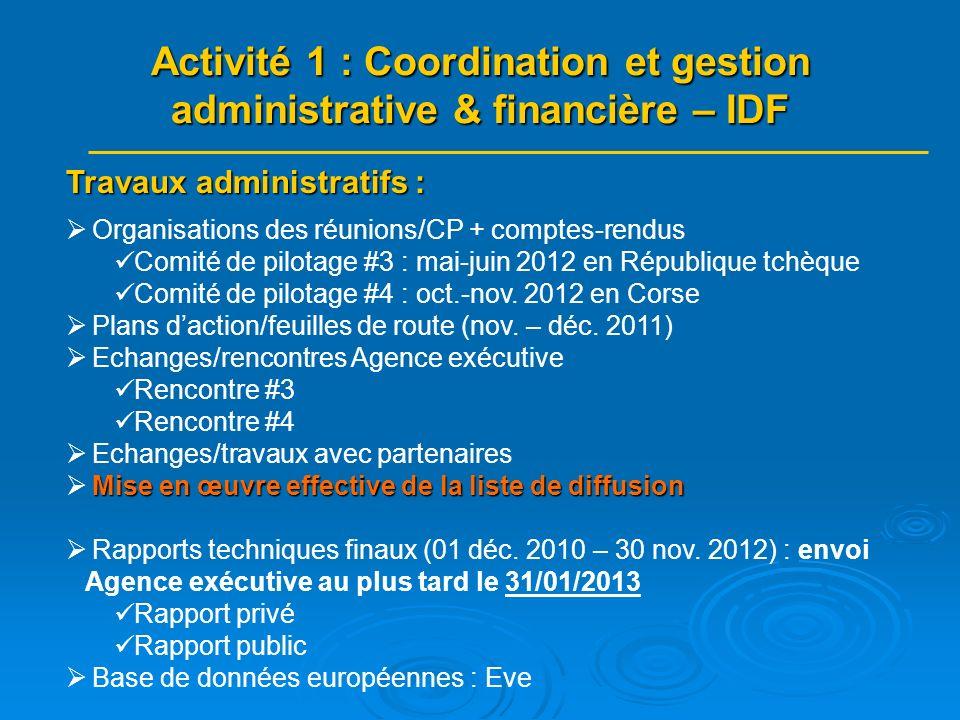 Travaux administratifs : Organisations des réunions/CP + comptes-rendus Comité de pilotage #3 : mai-juin 2012 en République tchèque Comité de pilotage #4 : oct.-nov.