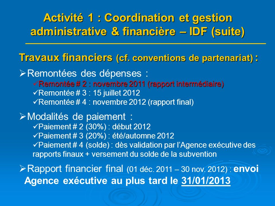 Travaux financiers (cf.