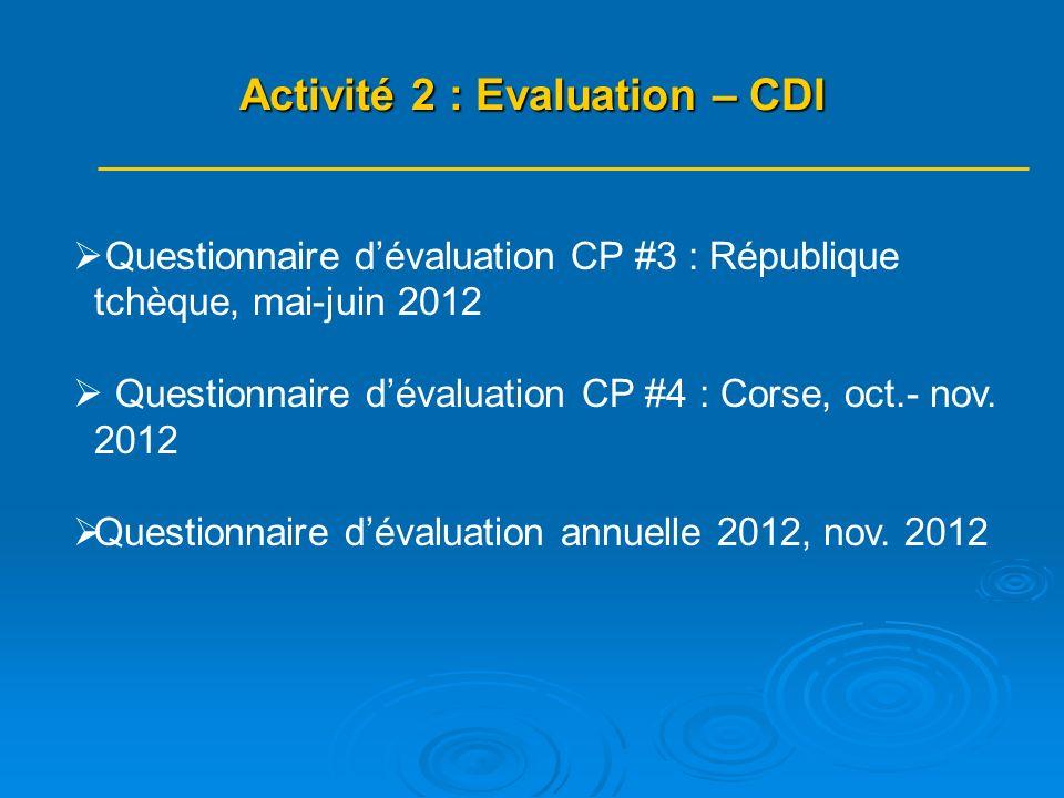 Questionnaire dévaluation CP #3 : République tchèque, mai-juin 2012 Questionnaire dévaluation CP #4 : Corse, oct.- nov.