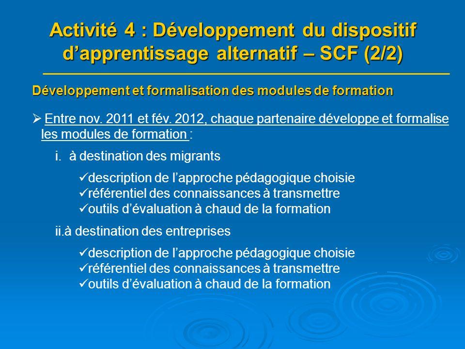 Expérimentation des modules : mise en œuvre des dispositifs Fév.