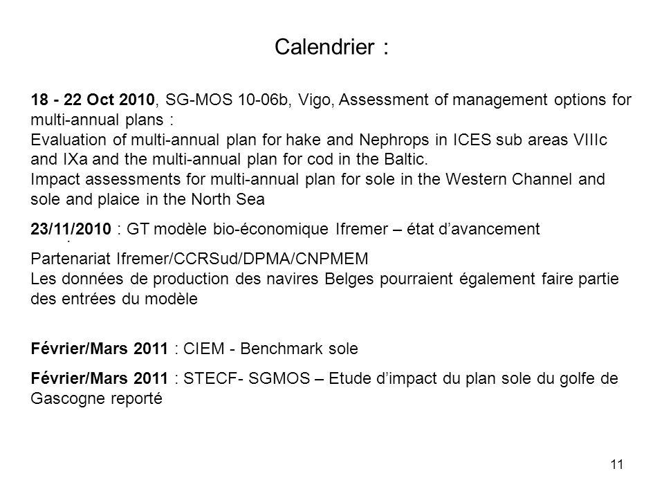 11. Calendrier : 18 - 22 Oct 2010, SG-MOS 10-06b, Vigo, Assessment of management options for multi-annual plans : Evaluation of multi-annual plan for