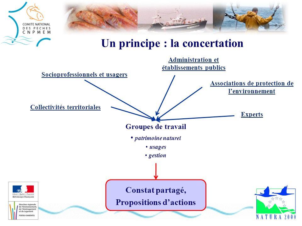 Un principe : la concertation Constat partagé, Propositions dactions Groupes de travail patrimoine naturel usages gestion Administration et établissem
