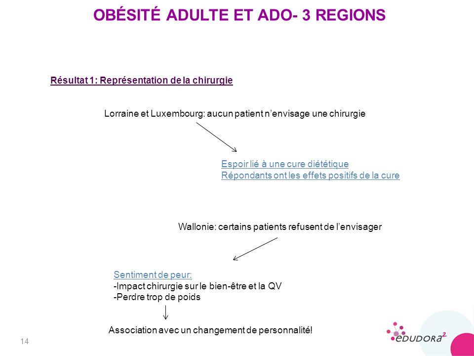 14 OBÉSITÉ ADULTE ET ADO- 3 REGIONS Lorraine et Luxembourg: aucun patient nenvisage une chirurgie Sentiment de peur: -Impact chirurgie sur le bien-être et la QV -Perdre trop de poids Association avec un changement de personnalité.