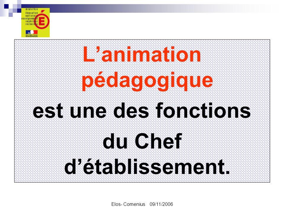 Elos- Comenius 09/11/2006 Lanimation pédagogique est une des fonctions du Chef détablissement.