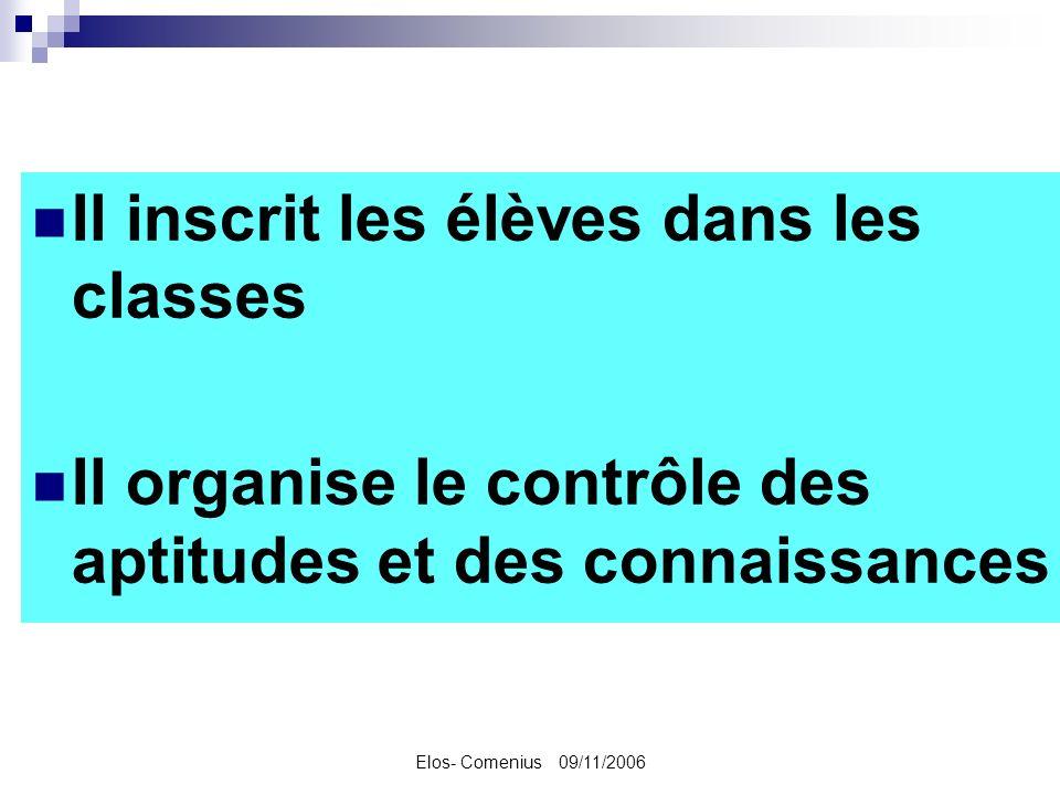 Elos- Comenius 09/11/2006 Il inscrit les élèves dans les classes Il organise le contrôle des aptitudes et des connaissances