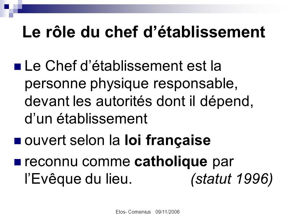 Elos- Comenius 09/11/2006 Le rôle du chef détablissement Le Chef détablissement est la personne physique responsable, devant les autorités dont il dépend, dun établissement ouvert selon la loi française reconnu comme catholique par lEvêque du lieu.