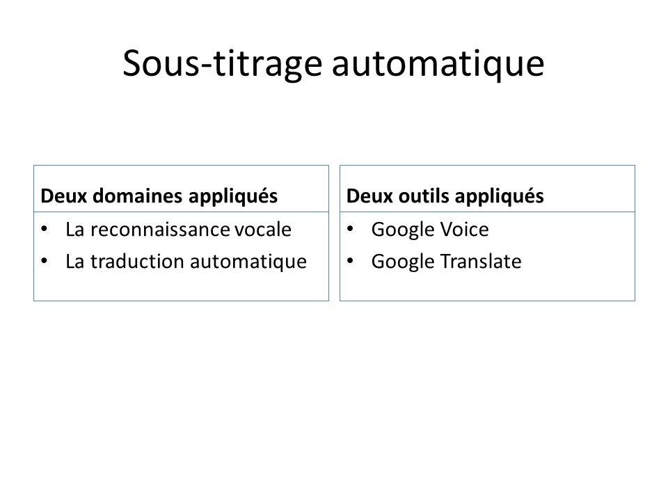 Sous-titrage automatique Deux domaines appliqués La reconnaissance vocale La traduction automatique Deux outils appliqués Google Voice Google Translat