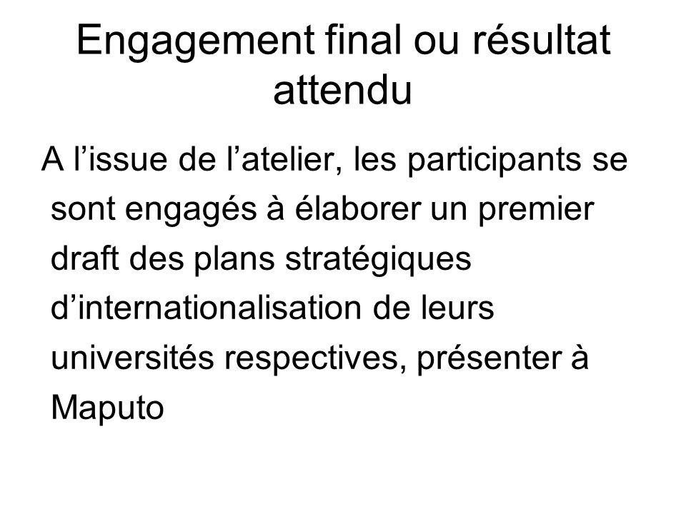 Engagement final ou résultat attendu A lissue de latelier, les participants se sont engagés à élaborer un premier draft des plans stratégiques dinternationalisation de leurs universités respectives, présenter à Maputo