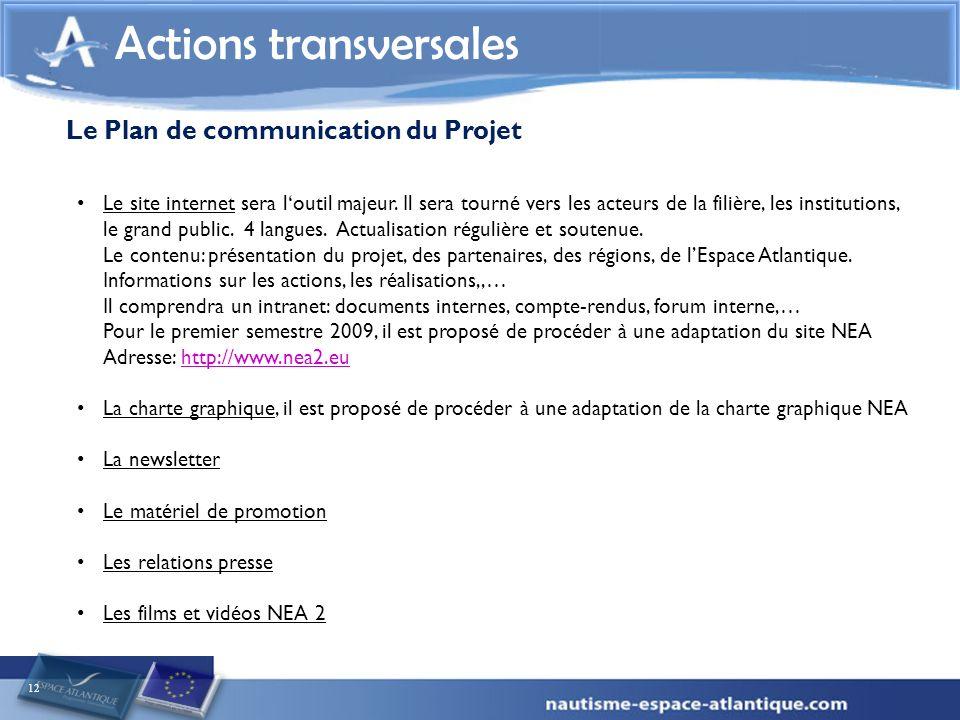 12 Actions transversales Le Plan de communication du Projet Le site internet sera loutil majeur. Il sera tourné vers les acteurs de la filière, les in